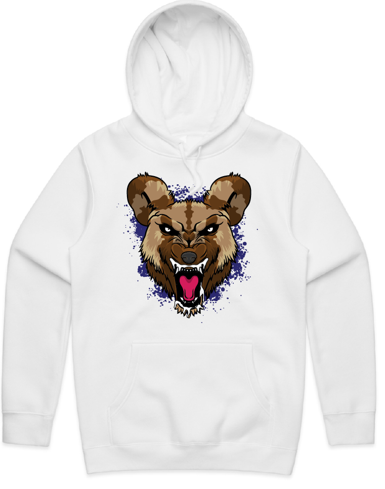"""WILD DOG"" HOODED PULLOVER WHITE SWEATSHIRT (Purple)"