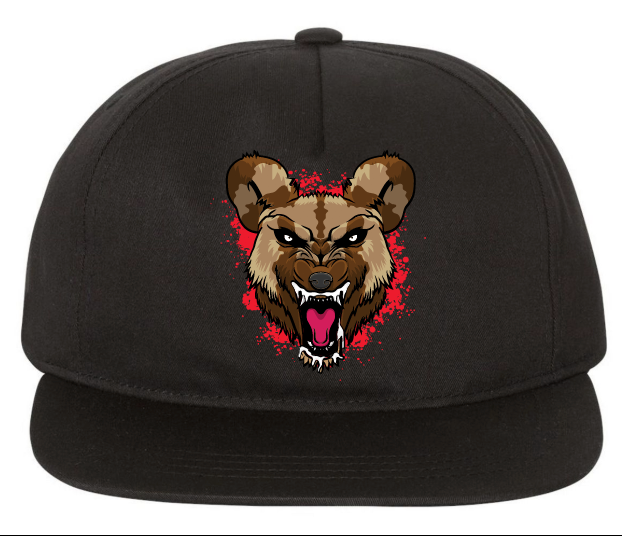 Wild Dog (RED) Black Snapback Hat