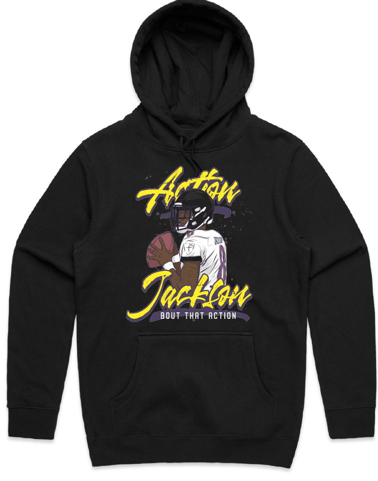 """Action Jackson Script"" HOODED PULLOVER SWEATSHIRT (BLACK)"