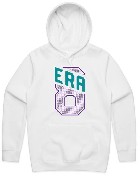 """Era 8 Slant"" White Hooded Pullover Sweatshirt (Purple/Teal)"