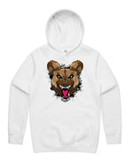 """WILD DOG"" HOODED PULLOVER WHITE SWEATSHIRT (BLACK)"