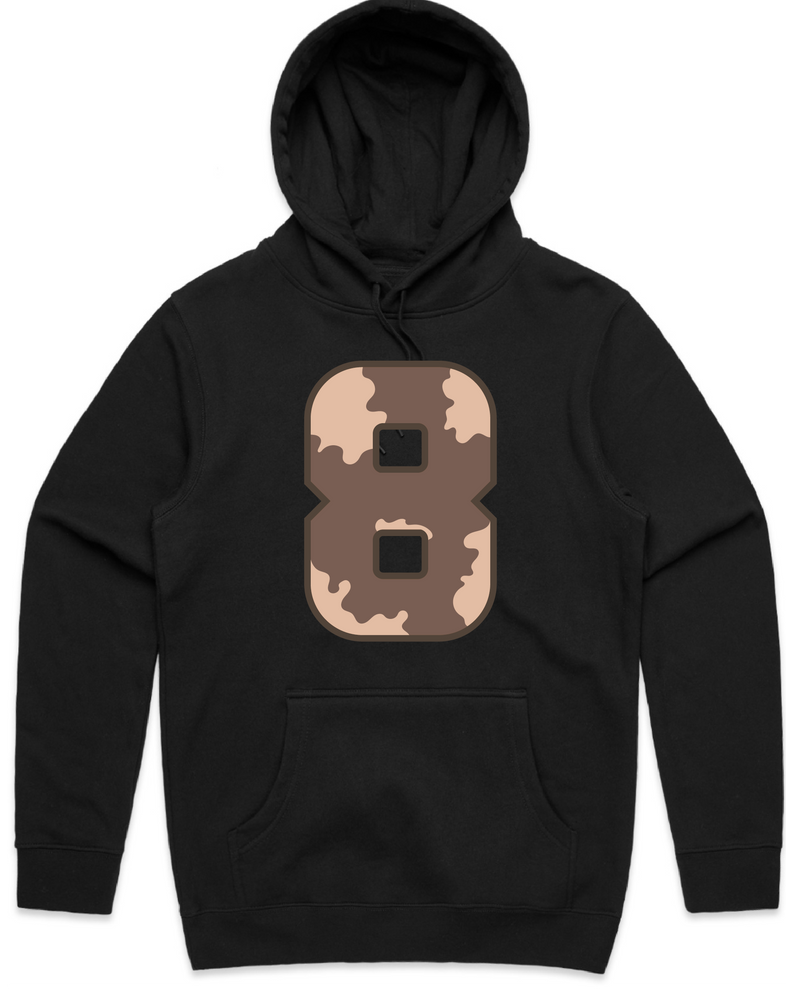 """WILD 8"" Black Hooded Pullover Sweatshirt"