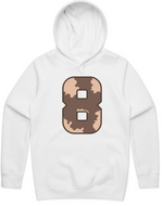 """WILD 8"" White Hooded Pullover Sweatshirt"
