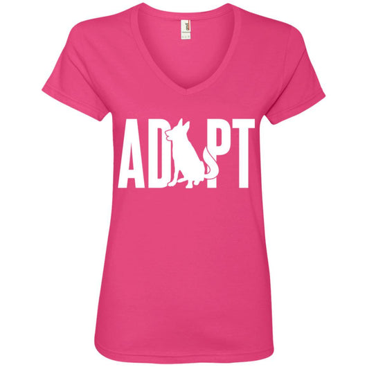 Adopt A Dog V-Neck T-Shirt For Women - Ohmyglad