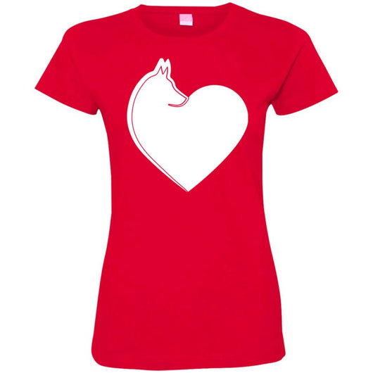Dog Heart Fitted T-Shirt For Women - Ohmyglad