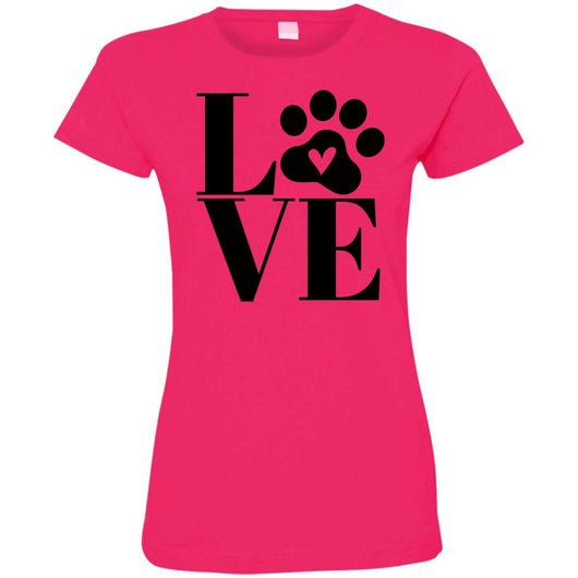 Dog Love Fitted T-Shirt For Women - Ohmyglad