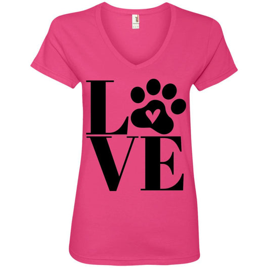 Dog Love V-Neck T-Shirt For Women - Ohmyglad
