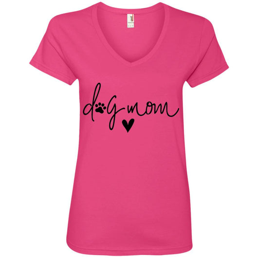 Dog Mom V-Neck T-Shirt For Women - Ohmyglad