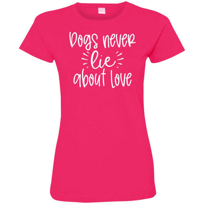 Dog Never Lie About Love Fitted T-Shirt For Women - Ohmyglad