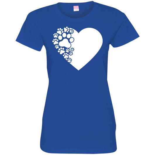 Dog Paw Print Fitted T-Shirt For Women - Ohmyglad