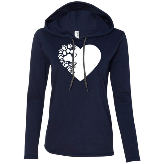 Dog Paw Print Hooded Shirt For Women - Ohmyglad
