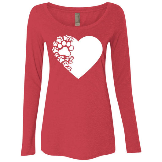 Dog Paw Print Long Sleeve Shirt For Women - Ohmyglad