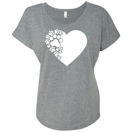 Dog Paw Print Slouchy T-Shirt For Women - Ohmyglad