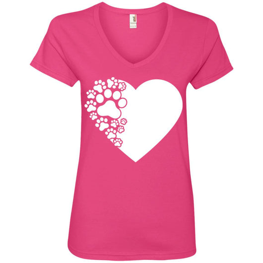 Dog Paw Print V-Neck T-Shirt For Women - Ohmyglad