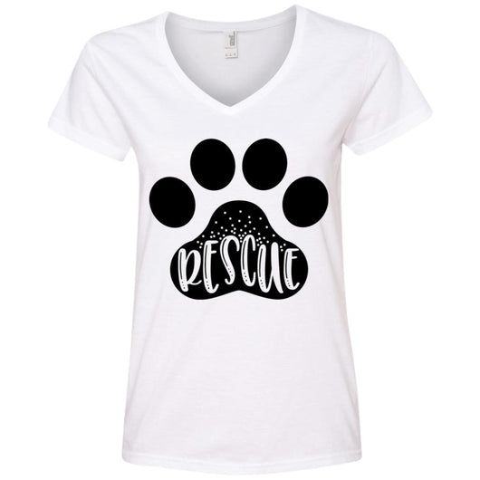 Dog Rescue V-Neck T-Shirt For Women - Ohmyglad