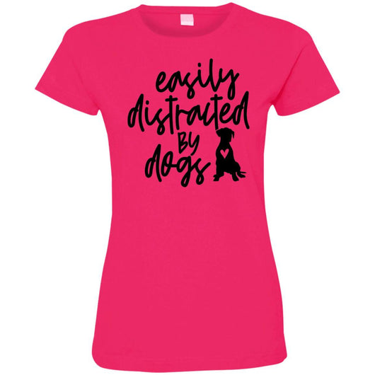 Easily Distracted By Dogs Fitted T-Shirt For Women - Ohmyglad