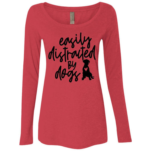 Easily Distracted By Dogs Long Sleeve Shirt For Women - Ohmyglad
