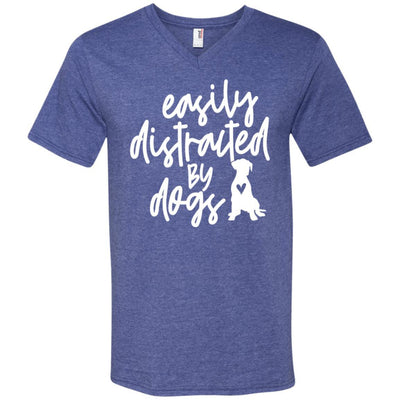 Easily Distracted By Dogs V-Neck T-Shirt For Men - Ohmyglad