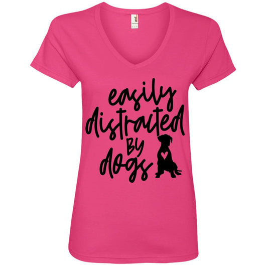 Easily Distracted By Dogs V-Neck T-Shirt For Women - Ohmyglad