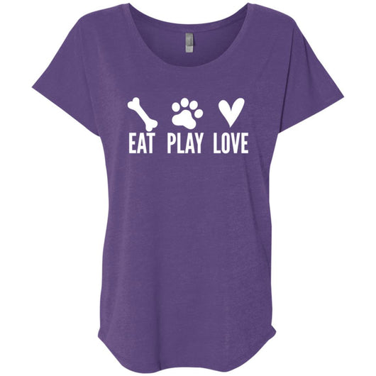 Eat, Play, Love Slouchy T-Shirt For Women - Ohmyglad