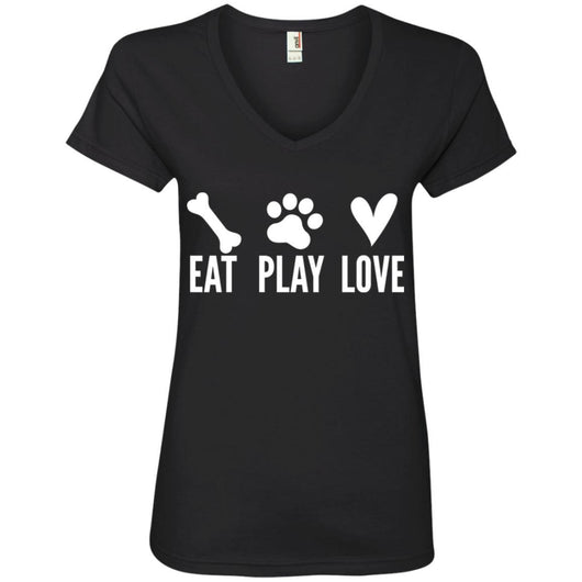 Eat, Play, Love V-Neck T-Shirt For Women - Ohmyglad