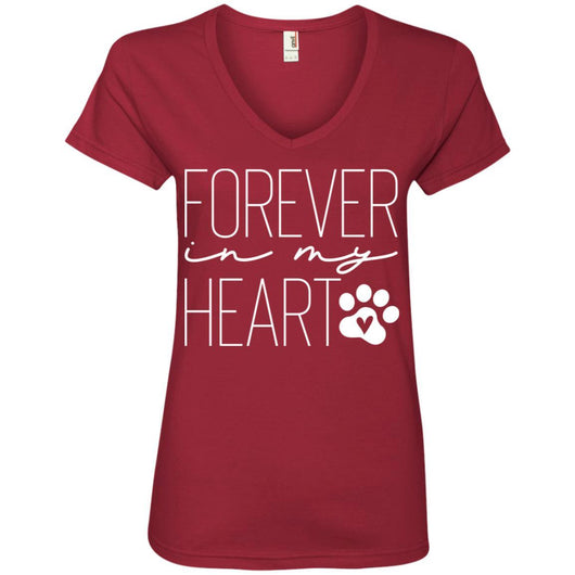 Forever In My Heart V-Neck T-Shirt For Women - Ohmyglad