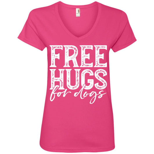 Free Hugs For Dogs V-Neck T-Shirt For Women - Ohmyglad