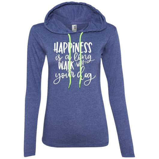 Happiness Is A Long Walk With Your Dog Hooded Shirt For Women - Ohmyglad