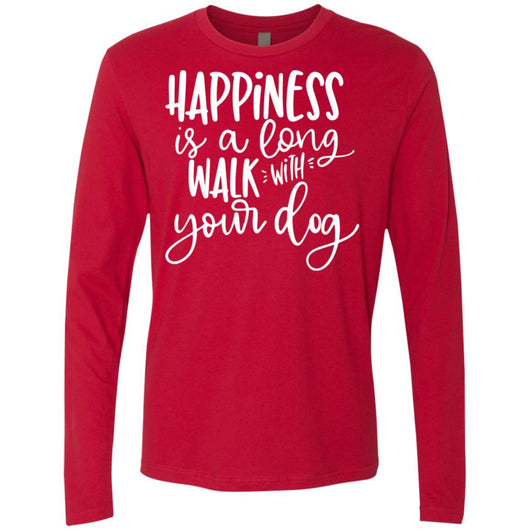 Happiness Is A Long Walk With Your Dog Long Sleeve Shirt For Men - Ohmyglad