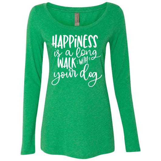Happiness Is A Long Walk With Your Dog Long Sleeve Shirt For Women - Ohmyglad