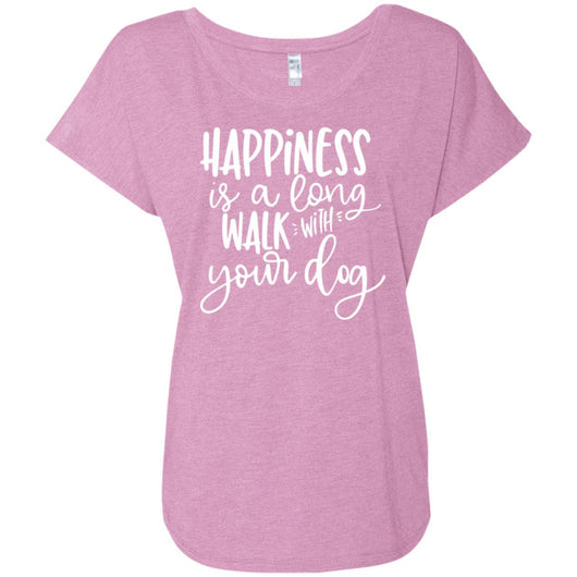 Happiness Is A Long Walk With Your Dog Slouchy T-Shirt For Women - Ohmyglad