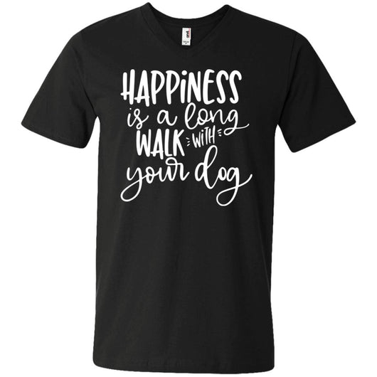 Happiness Is A Long Walk With Your Dog V-Neck T-Shirt For Men - Ohmyglad