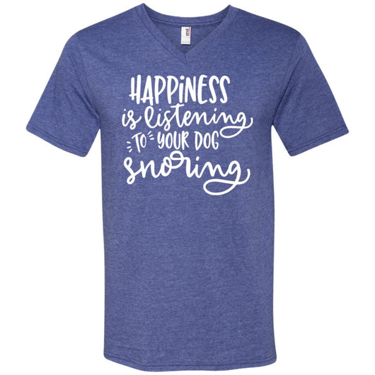 Happiness Is Listening To Your Dog Snoring	V-Neck T-Shirt For Men - Ohmyglad