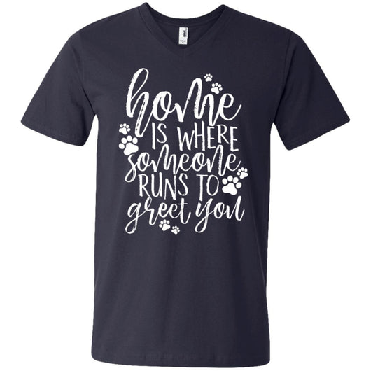 Home Is Where Someone Runs To Greet You V-Neck T-Shirt For Men - Ohmyglad