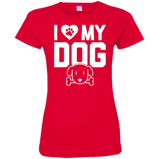 I Love My Dog Fitted T-Shirt For Women - Ohmyglad