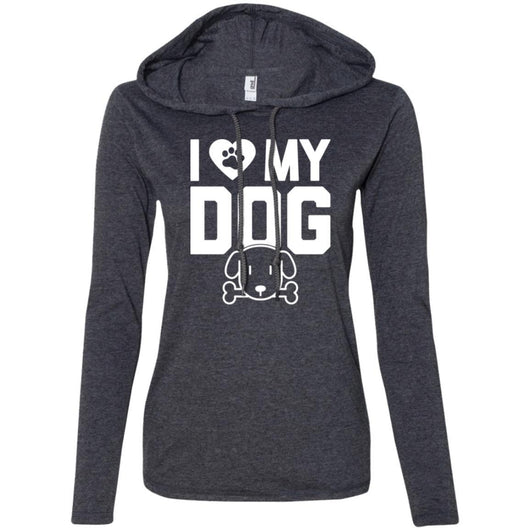 I Love My Dog Hooded Shirt For Women - Ohmyglad