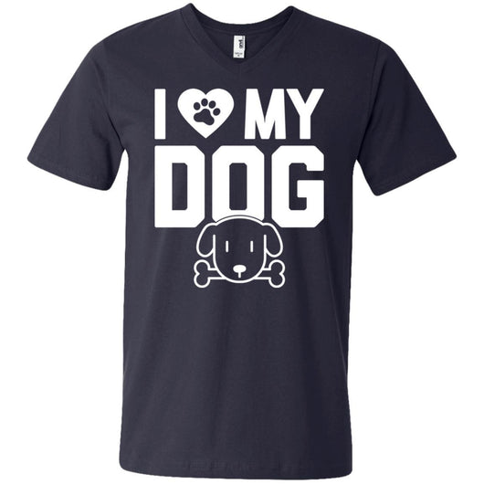 I Love My Dog V-Neck T-Shirt For Men - Ohmyglad
