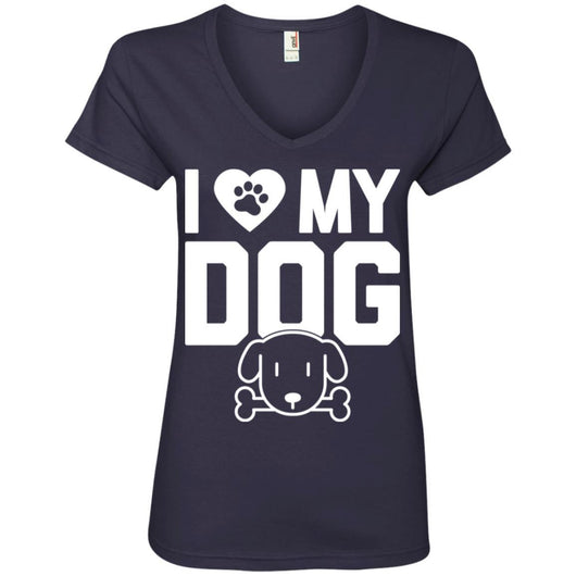 I Love My Dog V-Neck T-Shirt For Women - Ohmyglad