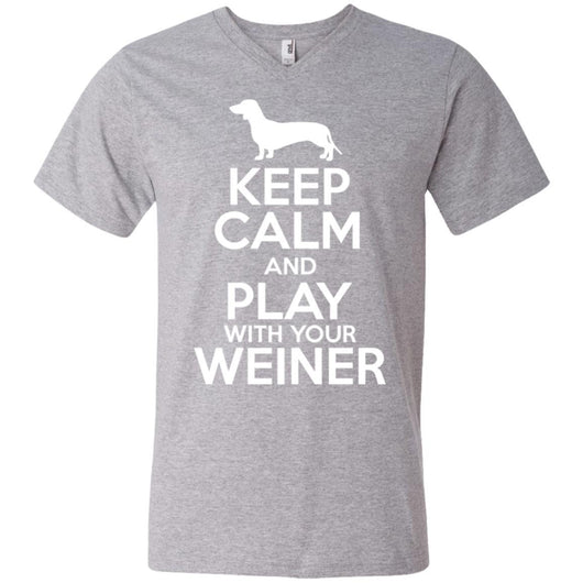 Keep Calm And Play With Your Weiner V-Neck T-Shirt For Men - Ohmyglad