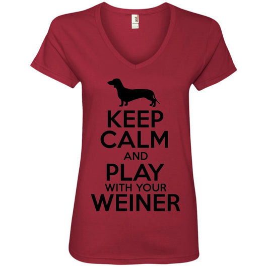 Keep Calm And Play With Your Weiner V-Neck T-Shirt For Women - Ohmyglad