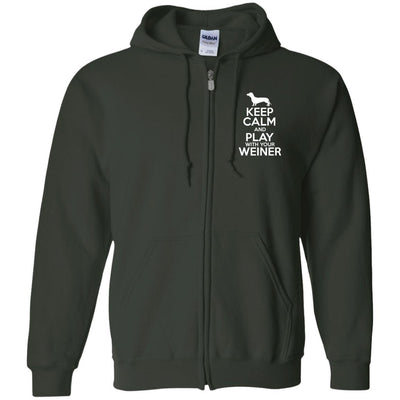 Keep Calm And Play With Your Weiner Zip Hoodie For Men - Ohmyglad