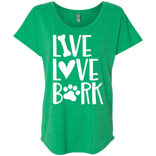 Live, Love, Bark Slouchy T-Shirt For Women - Ohmyglad