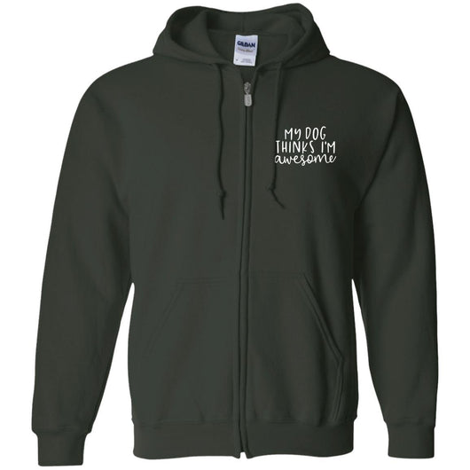 My Dog Thinks I'm Awesome Zip Hoodie For Men - Ohmyglad