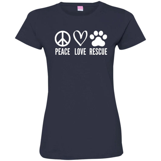 Peace, Love, Rescue Fitted T-Shirt For Women - Ohmyglad