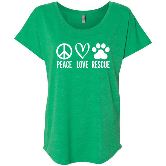 Peace, Love, Rescue Slouchy T-Shirt For Women - Ohmyglad
