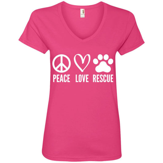 Peace, Love, Rescue V-Neck T-Shirt For Women - Ohmyglad