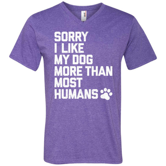 Sorry I Like My Dogs More Than Most Humans V-Neck T-Shirt For Men - Ohmyglad