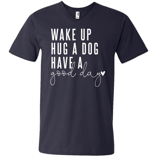 Wake Up, Hug A Dog V-Neck T-Shirt For Men - Ohmyglad