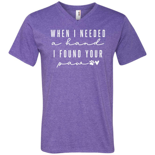 When I Needed A Hand, I Found Your Paw V-Neck T-Shirt For Men - Ohmyglad
