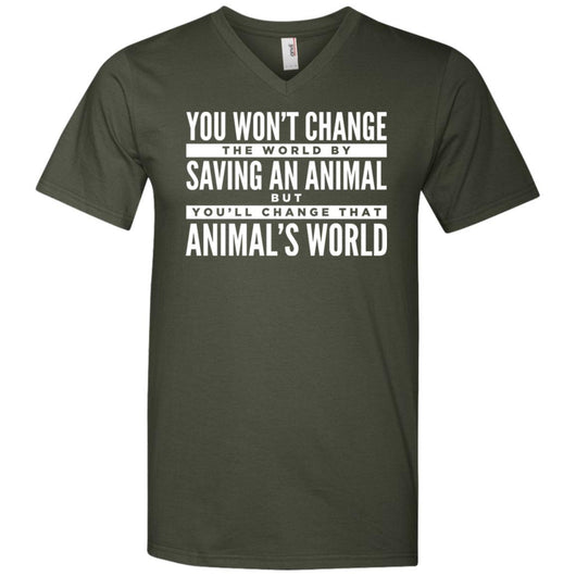 You Won't Change The World By Saving An Animal, But You Will Change That Animal's World V-Neck T-Shirt For Men - Ohmyglad
